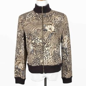 St. John Marie Gray Animal Print Full Zip Jacket M